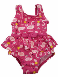 Carters Infant Girls Pink Flamingo Fruit Ruffled Bow 1 pc Swimming Swim Suit