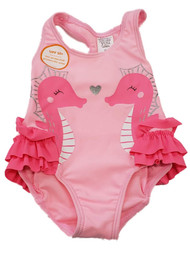 Carters Infant Girl Pink Seahorse Glitter Ruffled 1 pc Swimming Swim Suit