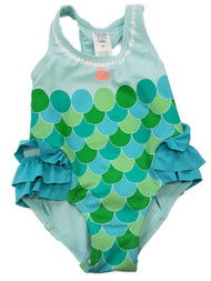 Carters Infant Girls Mermaid Scale Green Blue Ruffled 1 pc Swimming Swim Suit