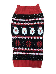 Black Santa Claus Snowflake Christmas Holiday Dog Sweater Pet Costume