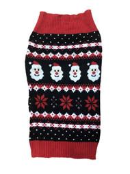 Black Santa Claus Snowflake Christmas Holiday Dog Sweater Pet Costume