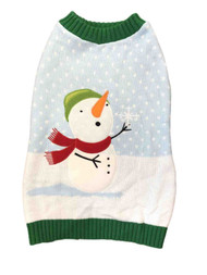 Blue Holiday Christmas Snowman Snow Scarf Dog Sweater Pet Costume Medium
