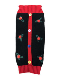 Black Holly Button Christmas Holiday Dog Sweater Pet Costume