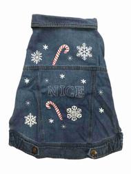 Blue Holiday Christmas Denim Vest Nice Candycane Pet Dog Costume Outfit