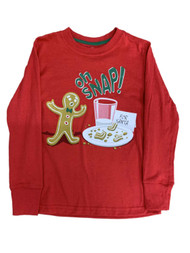 Boys Red Oh Snap Gingerbread Cookie Christmas Holiday Long Sleeve Shirt