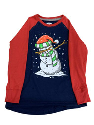 Boys Blue & Red Dabbing Snowman Long Sleeve Raglan T-Shirt