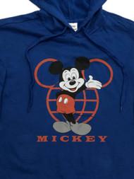 Disney Womens Blue Mickey Mouse Hoodie Sweatshirt