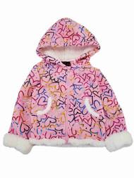 Girls Pink White Foil Shiny Heart Hearts Jacket Hooded Winter Snow Coat