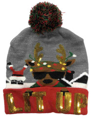 Mens Gray & Red Sequin Lit Up Reindeer & Santa Christmas Holiday Beanie Hat