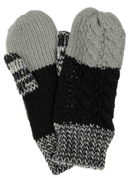 Womens Black & Gray Cable Knit Mittens Fleece Lined