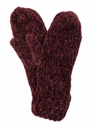 Womens Burgundy Chenille Mittens Fleece Lined
