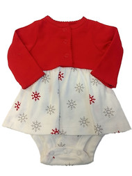 Carter Infant Girls White Glitter Snowflake Christmas Bodysuit Dress Newborn