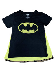 Batman Junior Womens Black & Yellow Cape Beaded Logo T-Shirt Costume Tee Top