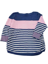 Womens Blue Pink White Stripe Ribbed Dressy Stretchy Ruched Sweater Top Shirt