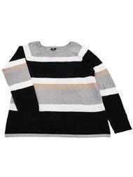 Womens Black Grey Tan White Stripe Ribbed Dressy Stretchy Sweater Top Shirt