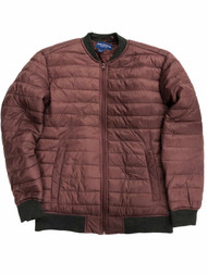 Arizona Mens Plum & Gray Lightweight Quilted Bubble Puffer Jacket Coat