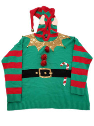 Womens Red Green Elf Sequin Bells Stripes Hoodie Christmas Holiday Sweater XL