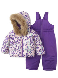 Infant Girls Pink & Purple Leopard Print Snowsuit Jacket Set Ski Bibs & Coat 12m