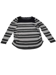Womens Charcoal Grey & White Striped Lace Front Long Sleeve T-Shirt Shirt Top