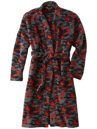 Boys Gray & Orange Camouflage Plush Fleece Bathrobe Bath Robe House Coat XS 4/5