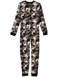 Boys Black Ghost Camouflage Plush Fleece Footie Sleeper Pajamas XS 4/5