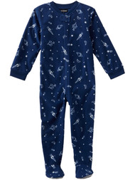 Boys Blue Fleece Planet & Outer Space Themed Footie Sleeper Pajamas 4T