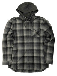 Vans Mens Gray Plaid Flannel Hoodie Button Front Shirt Jacket