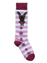 Girls Striped Pink Reindeer & Snowflake Christmas Holiday Knee Socks