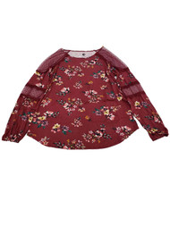 Womens Burgundy Floral and Lace Long Sleeve Dressy Soft Shirt Top Blouse M