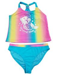 Girls Plus Rainbow Shimmer Foil Mermaid 2Pc Bikini Tankini Swimming Swim Suit