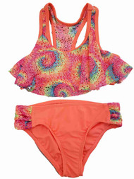 Girls Shimmery Rainbow Pink Purple Blue Orange Ruffle 2Pc Swimming Swim Suit