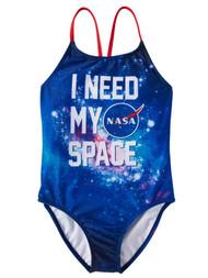 Girls NASA I Need My Space Blue Galaxy Stars 1 Piece Swimming Bathing Suit 4-5