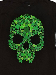 Boys Black Clover Skull Tee Shirt Saint Patty's St. Patrick's Day T-Shirt