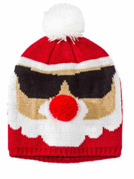 Girls Red Knit Santa Claus Pom Beanie Stocking Cap Christmas Holiday Hat