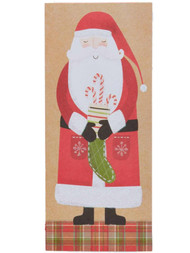 Brown Glitter Santa Claus Stocking & Candycane Holiday Christmas Cards