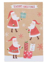 Brown Paper Santa Claus Gift Wrapper Holiday Christmas Cards