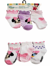 Disney Infant Girls Minnie Mouse Pink White Purple 6 Pack Socks 6-12 Months