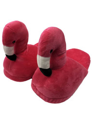 Womens Plush Hot Pink Flamingo Slippers Scuffs House Shoes