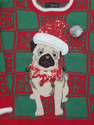 Womens Red & Green Pug Dog Puppy Bells Sequins Long Sleeve Knit Sweater