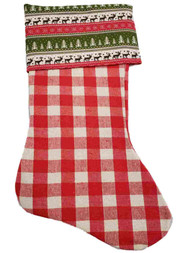 Red Checkered Reindeer Tree Snowflakes Christmas Holiday Gift Present Stocking