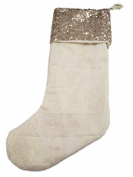 Beige & Gold Metallic Sequin Sparkle Christmas Holiday Gift Present Stocking