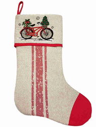 Red Bicycle Snowflakes Christmas Holiday Gift Present Mantel Hanging Stocking
