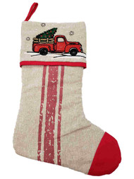 Red Truck Tree Snowflakes Christmas Holiday Gift Present Mantel Hanging Stocking