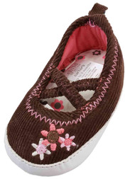 Carters Infant Girl Brown Corduroy Pink Flowers Loafer Baby Shoe Mary Jane NB-3M