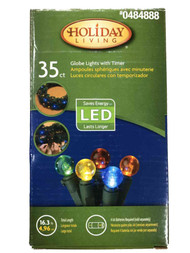35 Multi-Color Battery Operated LED Globe Christmas Holiday Lights Set & Timer