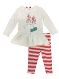 Infant & Toddler Girls White Reindeer Top & Red Striped Legging Holiday Set
