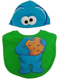 Sesame Street Infant Boys Green & Blue Cookie Monster Baby Bib & Beanie Set