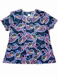 Disney Alice In Wonderland Womens Cheshire Cat Smock Nurse Scrubs Shirt Top