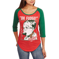 Christmas Story Junior Womens Red Green Oh Fudge Holiday Long Sleeve T-Shirt