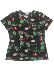 Womens Black Santa Claus Medical Smock Happy Holidays Christmas Scrubs Shirt
